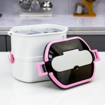 2 Layers Stainless Steel Insulated Lunch Box Stackable Thermal Food Storage Food Containers HC-02942
