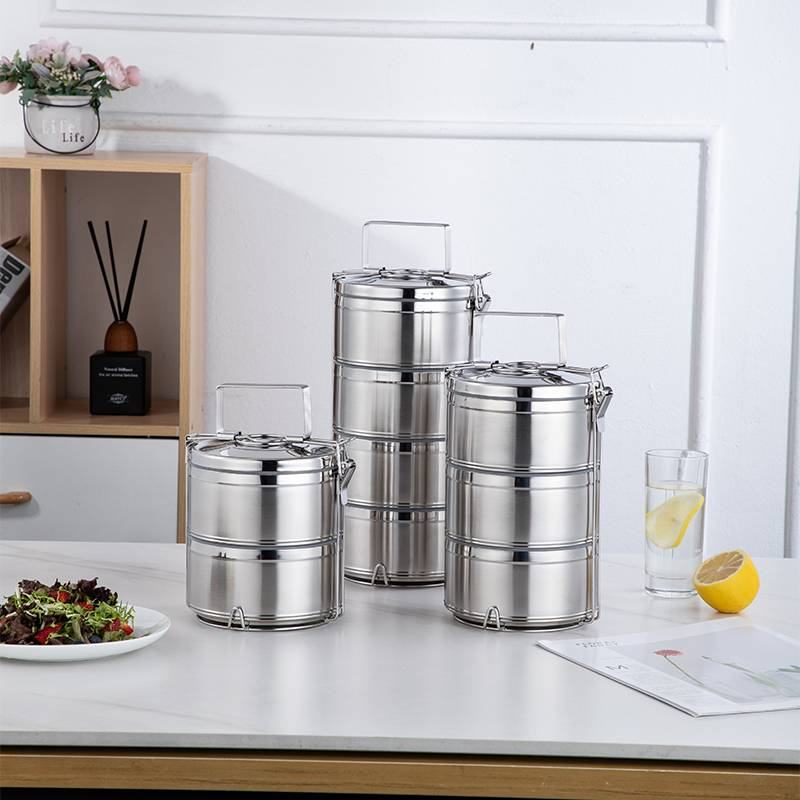 International stainless steel carrier box, traditional tiffin lunch box, thermos food HC-03310-A