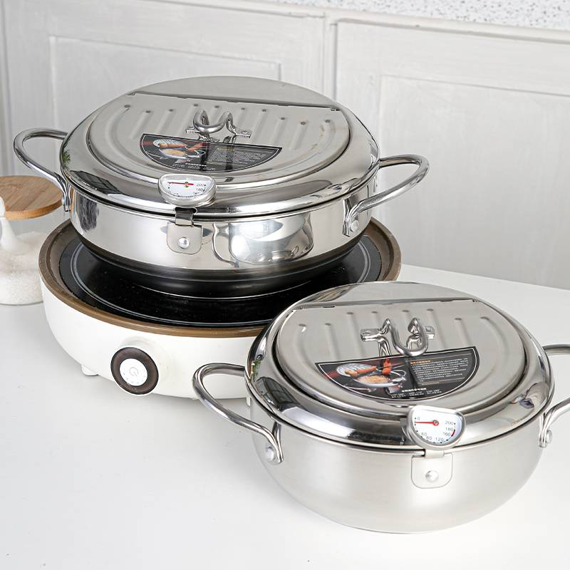 Deep Fryer Pot 304 Stainless Steel with Temperature Control and Lid Tempura Fryer Pan HC-01903