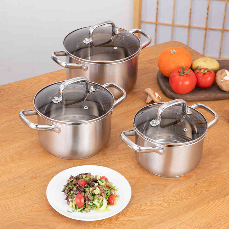 Double  Bottom Visible flat glass cover stainless steel hot pot cookware set food warmer set HC-0011