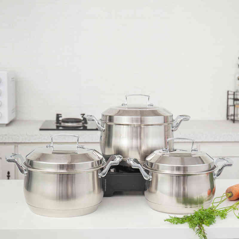 Hot sell 6 pcs soup pot set  Stainless steel easy cooking pot set HC-0036